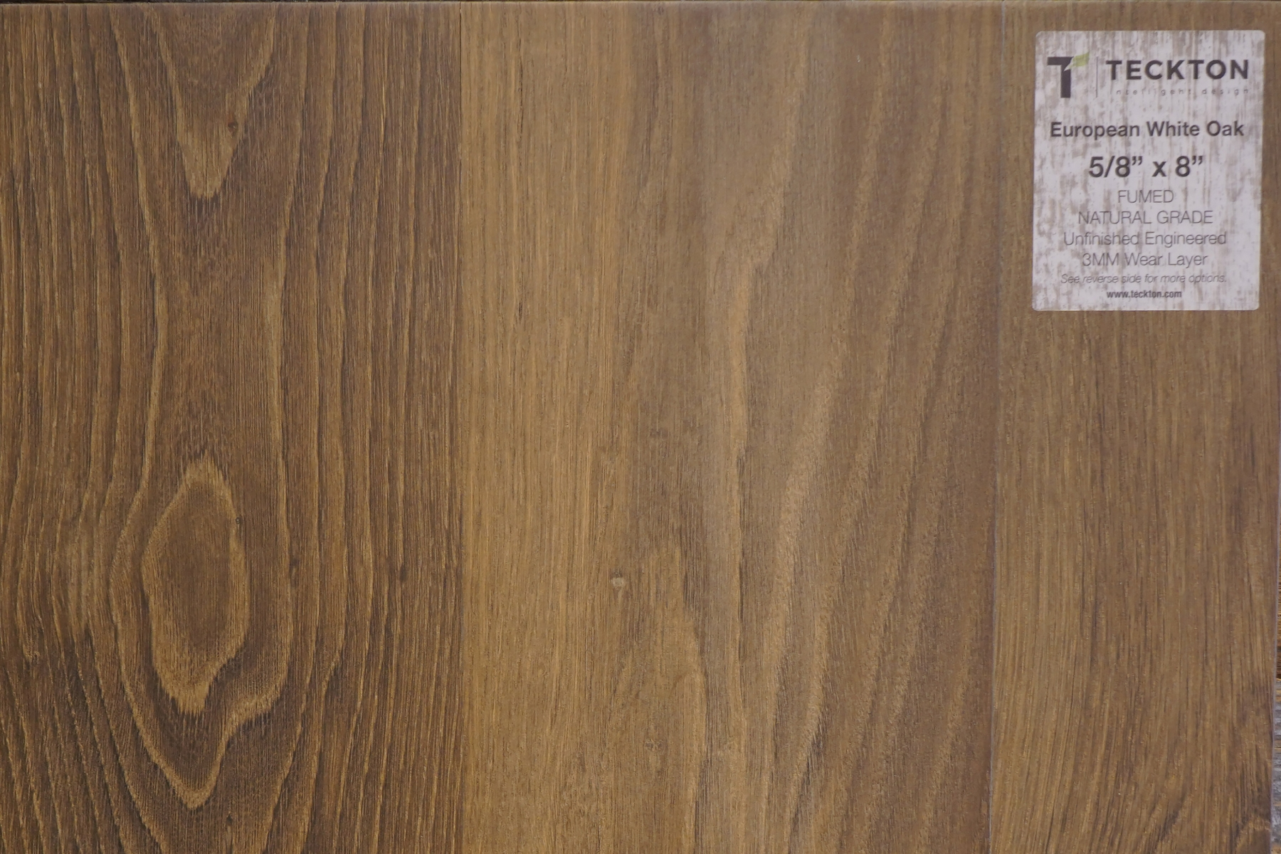 "European White Oak - Fumed Natural Grade  -  5/8"" x 8"""